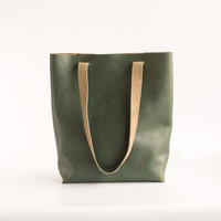 Dark Green Leather Tote