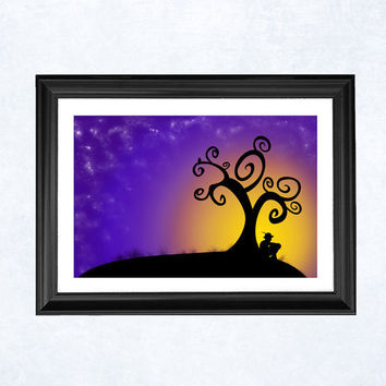 Fantasy sunrise print The boy the tree and by purplecactusdesign