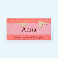 Personalized name sign or plaque for girls room. Pinks and reds with birds. S1067