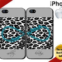 Best Friends iPhone Case - iPhone 4 Case or iPhone 5 Case - Infinity - Leopard Print iPhone Case - Personalized iPhone Cases - Two Case Set
