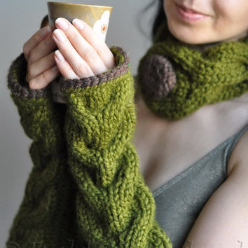 Hand knit extra long chunky cable fingerless gloves armwarmers olive green - Freezebaby Mittens - CHOOSE YOUR COLOR - Gift under 50