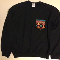 Unisex Custom Patch Pocket Crew Neck Sweatshirt by EEHCUOY on Etsy