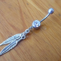 Belly Button Ring - Body Jewelry - Feathers Belly Button Ring