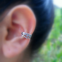Sterling Silver Handcrafted Leaf Textured Ear Cuff Cartilage/catchless/helix