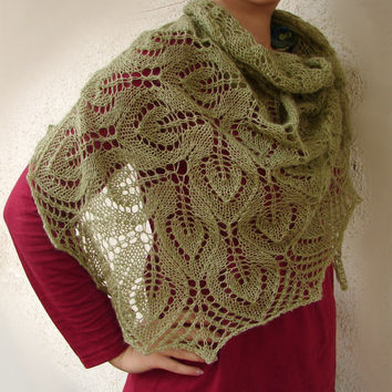 Wedding shawl in moss green, hand knitted from wool, mohair and acrylic blend yarn, triangle shawl, tell me your dream color <3