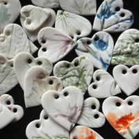 Handmade Porcelain Heart Buttons Pressed with Flowers and Leaves