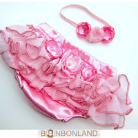 Baby bloomers diaper covers  with headband Wild by bonbonLand