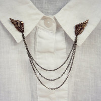 feathered wings collar pins, collar chain, collar brooch, lapel pin, wing pin, feather brooch