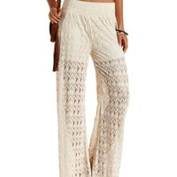 Ivory High-Waisted Crochet Palazzo Pants by Charlotte Russe