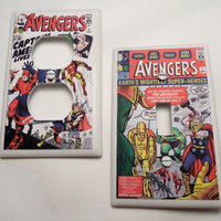 The Avengers Vintage Comic Light Switch and Outlet by myevilfriend
