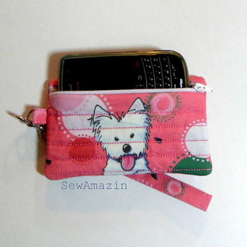 Pink Watermelon Westie Small Wristlet, Purse, Cell Phone Case