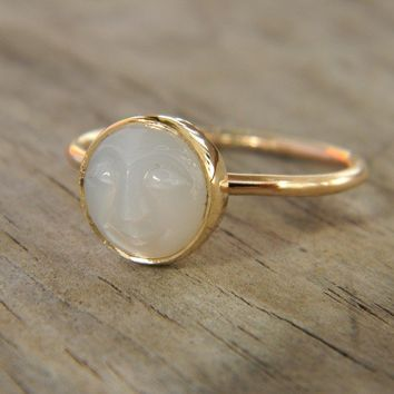 White Moonstone Face in Recycled 14k Yellow Gold, Made To Order In Your Size