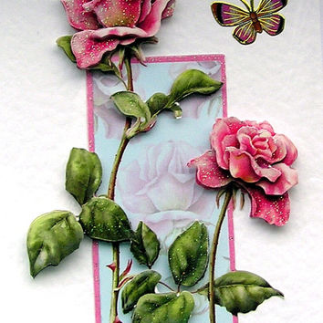 """Hand Crafted 3D Decoupage Card, Blank for any Occasion (1822) """"Pink Roses"""""""