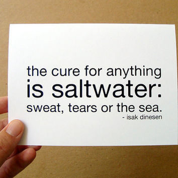$3.00 the cure for anything is saltwater  card / mini by letterhappy