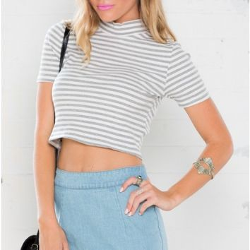 For The Perks Crop Top in Grey Stripe