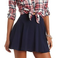 High-Waisted Solid Cotton Skater Skirt by Charlotte Russe - Navy Blue