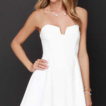 Keepsake Divide Ivory Strapless Skater Dress