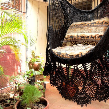 Black Sitting Hammock, Hanging Chair Natural Cotton and Wood plus Presidential Fringe