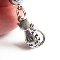 Silver Cat Belly Button Jewelry, Sitting Kitty Bellybutton Ring
