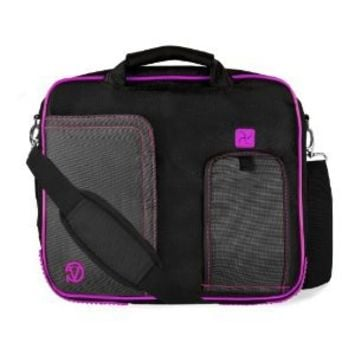 PURPLE TRIM BLACK Pindar Durable Water-Resistant Nylon Protective Carrying Case Messenger Shoulder Bag For Acer Aspire S3 Series 13.3 inch Ultrabook
