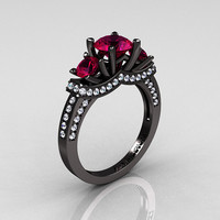 French 14K Black Gold Three Stone Raspberry Red Garnet Diamond Wedding Ring, Engagement Ring R182-14KBGDRG