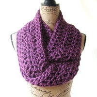 Ready To Ship Large Purple Port Wine Chunky Scarf Fall Winter Women's Accessory Infinity