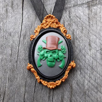 """A """"Walking Dead"""" Zombie Cameo Necklace """"Gilded"""" Picture Frame Pendant with Zombiefied Cameo on choice of Ribbon or Chain Necklace"""