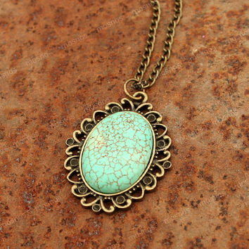 Turquoise Necklace- Vintage turquoise charm necklace, sweet gift for friends