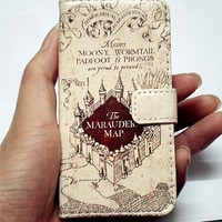 Hogwarts Marauder's Map Pattern Slim Wallet Card Flip Stand Leather Pouch Case Cover For 2013 Apple iphone 5C New Arrivel