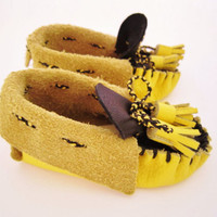 unique unisex baby moccasins handmade in vivid yellow leather with tassels - Busy Bees ...