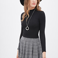 LOVE 21 Abstract-Patterned Knit Skater Skirt Black/Ivory