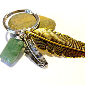 Cool Feather Keychain, Antique Golden Feather Charm Key Chain, Boho Accessories, Brass Feather Charm Key Ring, Classy Gift Under 20