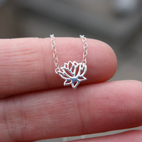 Tiny Lotus Flower Necklace - Sterling Silver Lotus Flower Charm . Yoga Jewelry . Zen Necklace . Minimal . Chain . Layering . Gift for Her