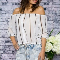 Between The Lines Off Shoulder Top