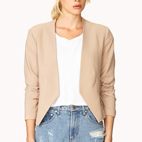 FOREVER 21 Must-Have Ruched Blazer Beige
