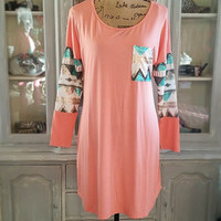 WRITTEN IN STONE SEQUIN TUNIC IN APRICOT