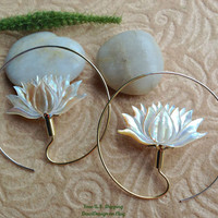 """Tribal Hanging Earrings, """"XL Lotus Hoops"""" Naturally Organic, Mother of Pearl, Brass/Sterling Posts, Hand Carved"""