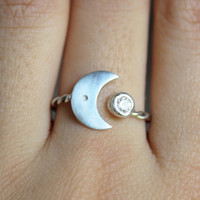 Silver Moon Star Ring - Adjustable Ring - Sterling Silver Ring - Silver Ring - Silver Jewelry - PMC - Metal Clay