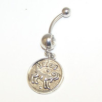 Aries, Zodiac, Sign, Charm, Crystal, Clear, Double, Gem, Belly, Button, Piercing