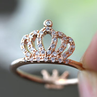 Crystal Crown Ring Rearside Tiny tiara Both side wearable Ring Jewelry Rose Gold or Silver Gift Idea