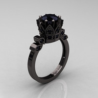 Exclusive Classic Armenian 14K Black Gold 1.0 Black Diamond Bridal Solitaire Ring R405-14KBGBD