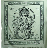 White Lord Ganesha Hindu Tie-Dye Cotton Indian Tapestry Wall Hanging