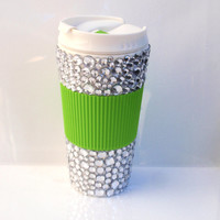 travel mug 16oz, silver sparkle with lime green attached sleeve