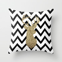 Glitter Deer Silhouette with Chevron Throw Pillow by daniellebourland