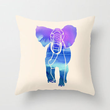 Watercolor Elephant Throw Pillow by Jacqueline Maldonado | Society6