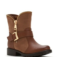 Brown Exposed Zipper Boots
