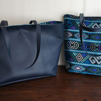 Reversible Mayan Navy Leather Bag