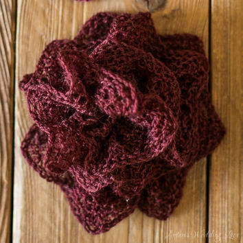 Bridal Hair Accessory, Hand-Knitted Wedding Hair Flower, Estonian Lace, Reddish Brown