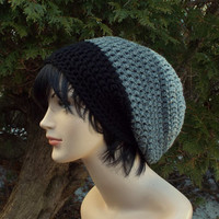 Gray and Black Slouch Beanie, Mens Slouchy Crochet Hat, Oversized Slouchy Beanie, Chunky Hat, Baggy Beanie, Slouchy Hat