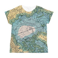 Map of the Arctic Allover Print Wmen's Shirt - Cartography, geography, t-shirt, pastels, vintage map